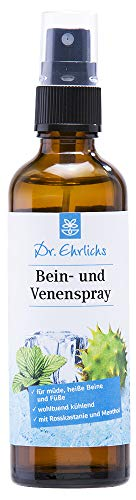 Dr. Ehrlichs Bein- und Venenspray 75 ml Kühlspray - Kühle Frische von Außen für schwere müde geschwollene Beine -schmerzende heiße Füße und Venenleiden - Rosskastanie & Menthol für müde Beine - zum Erfrischen - Kühlend - Ideal im Sommer - WELLNESS für Füße, Beine und Venen - Natürlich - Erfrischung