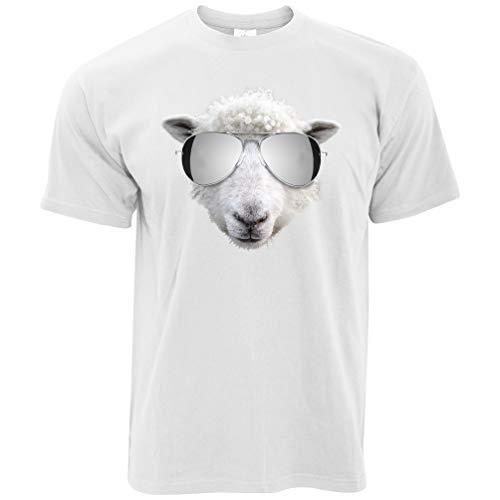 Summer Art T-Shirt Schafe Tragen Flieger-Sonnenbrille White XXXX-Large