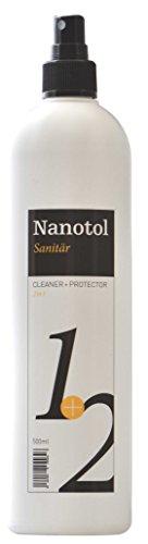 Nanotol Sanitärreiniger mit Lotuseffekt - 2in1 Cleaner+Protector Badreiniger - Reinigung & Nanoversiegelung für Dusche, Badkeramik, Armaturen - inkl. Kalkentferner - TESTSIEGER 2018 (500 - Protector Edelstahl Spüle