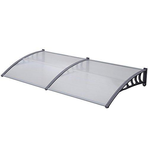 Jalano Vordach grau Überdachung Haustürdach Türdach Pultvordach Polycarbonat 5mm mit Profilen , Vordächer:100 x 300 cm, Farbe:grau