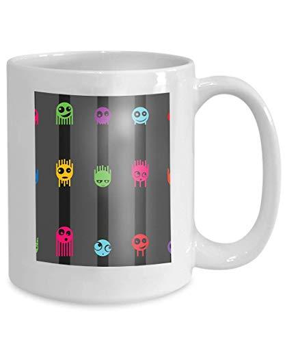 mug coffee tea cup cartoon cute monsters stripes Kawaii 110z