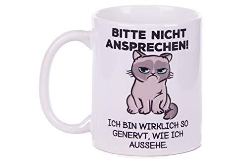 Netcream Lustige Tasse mit Katzenmotiv und Spruch Bitte Nicht ansprechen! Ich Bin wirklich so...