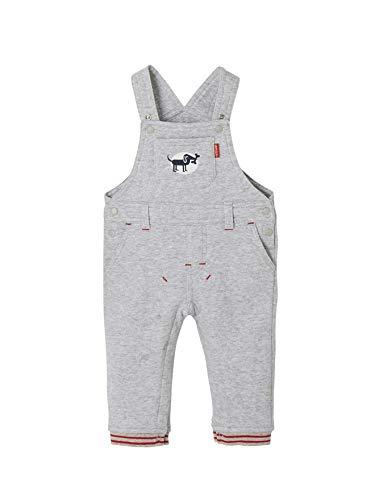 Vertbaudet Gefütterte Sweat-Latzhose für Baby Jungen grau meliert 86