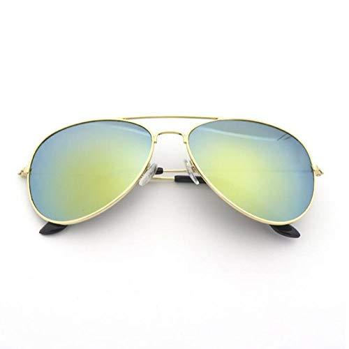 Szblk Metall-Sonnenbrille Reflektierende Sonnenbrille Polarisierte Sonnenbrille 100% UV-beständige Fahrsonnenbrille Modische ovale vielseitige Sonnenbrille (Color : Gold)