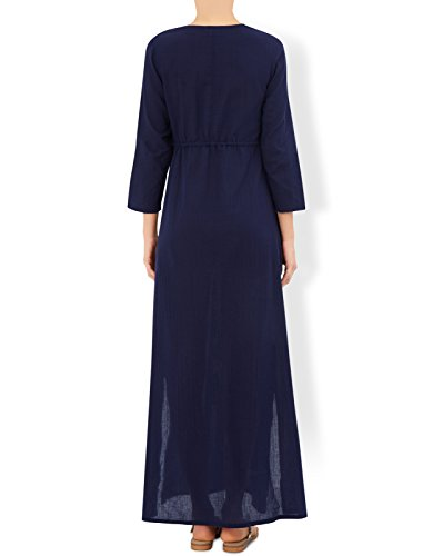 Monsoon Robe longue brodée Camelia - Femme Bleu Marine