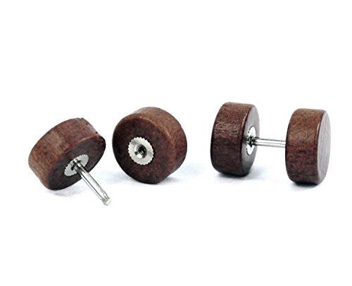Faux écarteurs d'oreilles en acier inoxydable 3 Pairs (10mm)