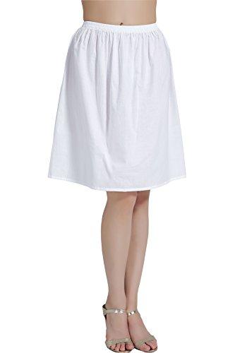 BEAUTELICATE Women's Half Slip 100% Cotton Vintage Underskirt in 5 Lengths White Black Ivory