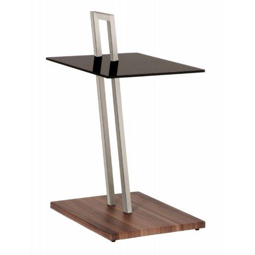 Haku Möbel 89850 Table Basse d'Appoint Tube d'Acier/Verre Trempé Optique Inox/Noyer