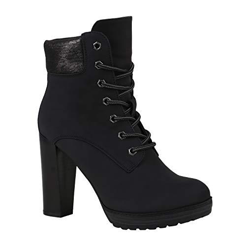 Damen Schnürstiefeletten Worker Boots Stiefeletten Block Absatz 172573 Schwarz 38 Flandell