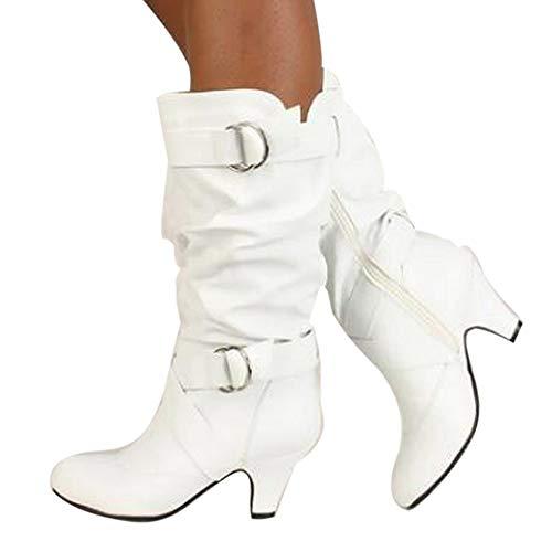 OSYARD Damen Lederstiefel Halbschaft Stiefel Hoher Absatz Freizeit Schuhe Schnalle Mode Sexy Frauen Overknee High Boot High Heel Lange Oberschenkel Stiefel Schuhe Stiefel (235/38, Weiß)