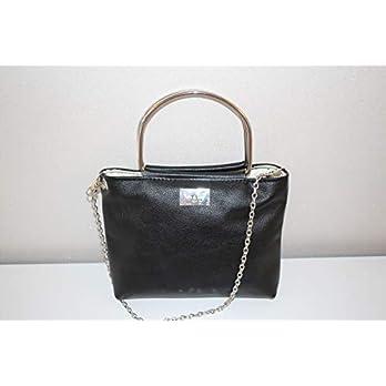 schwarze Handtasche Abendhandtasche Lederhandtasche Crossover mit Metallgriffen und Kette