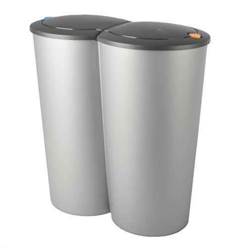 *Abfalleimer Duo Bin 2x25l Mülleimer Doppeleimer Mülltrennung Müllsammler Abfallsammler TS127*