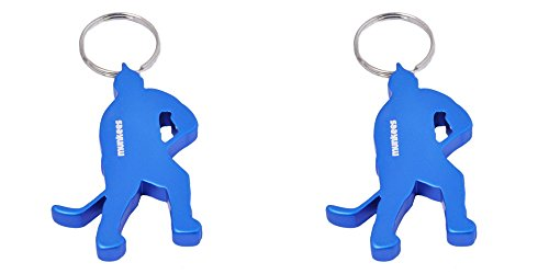 munkees 2 x Schlüsselanhänger Eishockey-Figur Flaschenöffner, Doppelpack Blau, 349769
