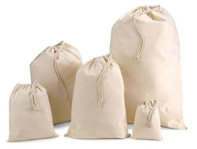 Natural Coloured Cotton Drawstring Bags in a choice of size (M 30cm x 45cm)***