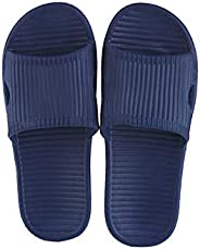 Miniso Men's Simple Stripes Slippers(Blue 41-42) hotel eva bathroom bath indoor soft bottom simple home no