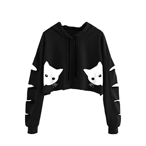 ღLILICATღ Sudaderas Mujer Tumblr Cortas con Capucha - Hueco Manga Larga Camiseta Blusas Invierno Otoño Impresión de Gato Ropa para Adolescentes Chicas