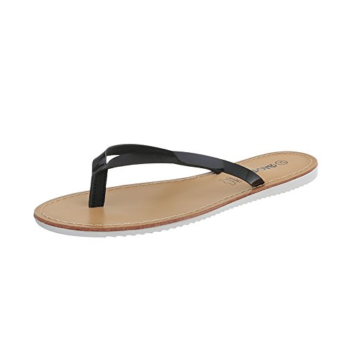 Ital-Design Zehentrenner Damen-Schuhe Sandalen & Sandaletten Schwarz, Gr 41, Ls16-5-
