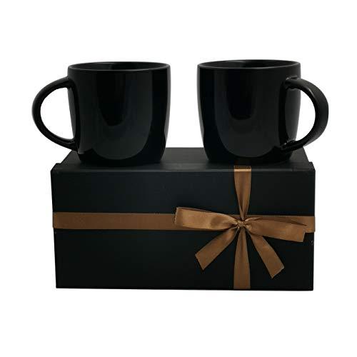 Leandale Keramik-Kaffeetasse, matt, Schwarz, 425 ml, mit Geschenk-Box, Geschenk für Vater, Opa, Papa, Mann oder Geburtstagsgeschenk Black set of 2 -