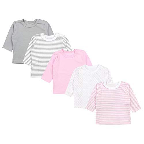 TupTam Baby Mädchen Langarmshirt Sterne 5er Pack, Farbe: Farbenmix 2, Größe: 68