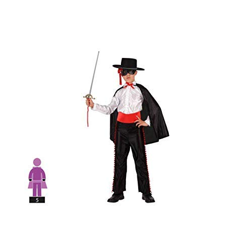 Cigno 2013, s.l. costume da 5pezzi per carnevale infantile bambino di zorro cavaliere in cieco. colore: nero e bianco. taglia 7–9anni di bambino e bambina. cosplay bambino carnevale.