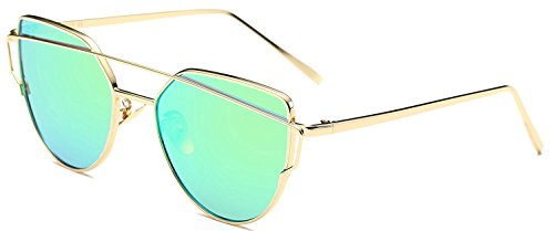 U.S. CROWN Women Cat-Eye Mirror Sunglasses with case -Sunglasses women men (Green / Golden Frame)
