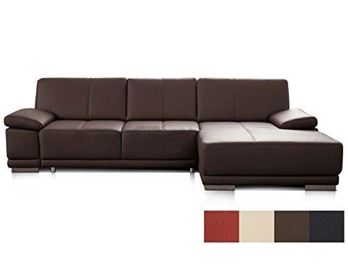CAVADORE Schlafsofa Corianne mit Longchair rechts / Ledercouch in modernem Design / Inkl....
