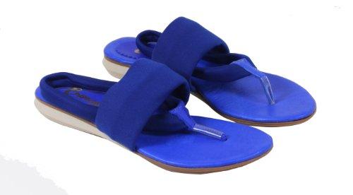 Berona - Scarpe Estive Di Alta Qualità In Pelle Flip Flop Separatore Super Confortevole Leggero Monocromatico In Vera Pelle Con Tessuto 36 37 38 39 40 Royal Blue