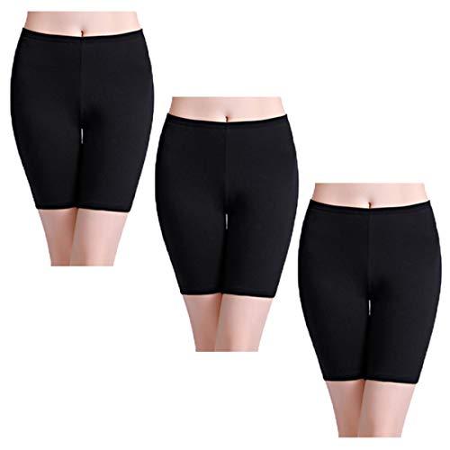 Wirarpa pantaloncini sottogonna boxer donna cotone vita alta mutande shorts elasticizzati pacco da 3 nero taglia l