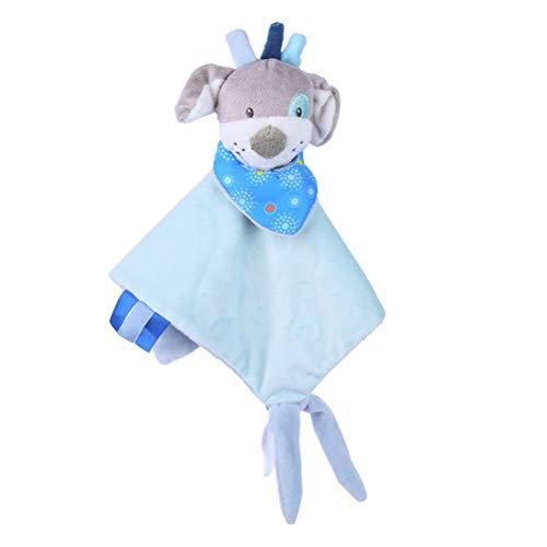 YeahiBaby Baby Schmusetücher Schnuffeltuch mit Beißring beruhigende Spielzeug für Kleinkinder Baby Mädchen Jungen (Hund) (Kleinkind Schnuffeltuch-set Blau)