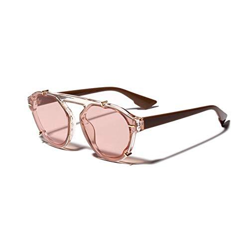 ZRTYJ Sonnenbrille Flat Top Sonnenbrille Damen Runde Accessoires Retro Große Sonnenbrille Für Herren Schwarz Transparente Geschenkartikel