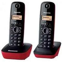 Panasonic KX-TG1612SPR - Kit de 2 teléfonos fijos digitales inalámbricos, negro con rojo