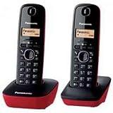 Panasonic KX-TG1612 - Teléfono Inalámbrico Digital Dúo (LCD, Identificador de Llamadas, Intercomunicación, Tecla de Navegación,  Alarma, Reloj) Color Rojo