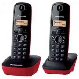 Panasonic KX-TG1612SPR - Kit de 2 teléfonos fijos digitales inalámbricos DECT, Negro/Rojo