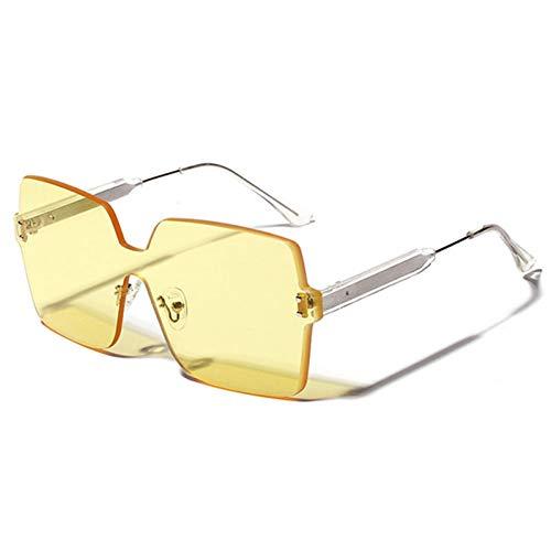 CJYTYJ Vintage One Piece Randlose Sonnenbrille Frauen Männer Platz Sonnenbrille Shades Retro Eyewear Uv400