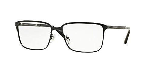 Versace Eyeglasses Men's 1232 1261, Matte Black Frame Metal, 56mm
