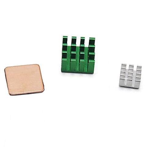 HYY 3 pcs Aluminium Dissipateur thermique pour Raspberry Pi 3 Modèle B/PI 2 Modèle B 3 pcs Dissipateur thermique pour Raspberry Pi 3 Modèle B/PI 2 Modèle B (1 x en cuivre et 2 x Aluminium) (3 pcs Dissipateur thermique pour