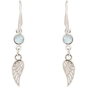 Gemshine Handmade - Ohrringe - Ohrhänger - Silber - Flügel - Chalcedon - Meeresgrün - 3,5 cm