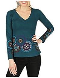Aller Simplement - T-Shirt femme en coton à manches longues col V Aller Simplement TS918