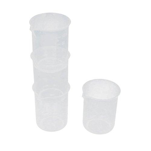 sourcingmap Labor 100mL klar weiß Kunststoff graduiert Flüssigkeit Messbecher Cup 4 Stück de DE de (Cup-messbecher Vier)