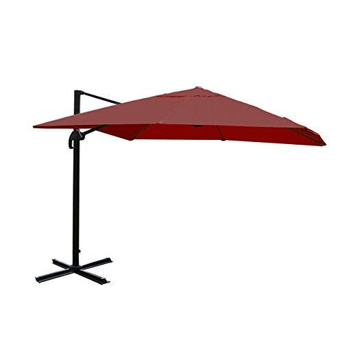 Gastronomie-Luxus-Ampelschirm Sonnenschirm N22, 4,3 m ~ bordeaux ohne Ständer