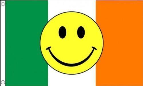 1,52 Meters x 0,91 Meters (150 x 90 cm, motivo: Smiley, tricolore irlandese dell'Irlanda di acidi, 100% poliestere, materiale bandierine Ideale per Club, feste,
