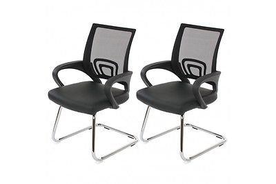2 Konferenzstühle schwarz 2er Set Besucherstuhl Praxis Stuhl Freischwinger Büro