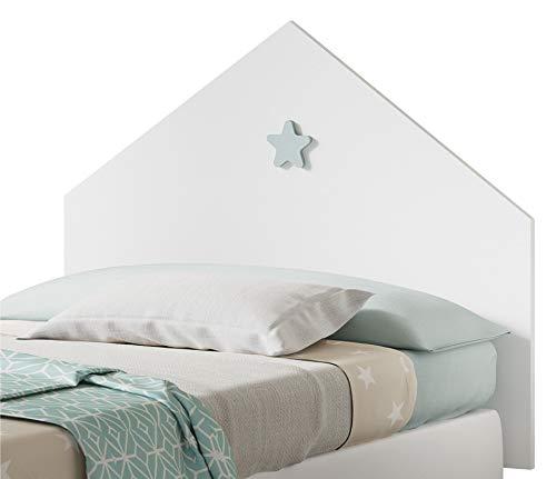 Pitarch Cabezal Cama Shine Color Blanco Estrella Gris cabecero Dormitorio Infantil Juvenil...