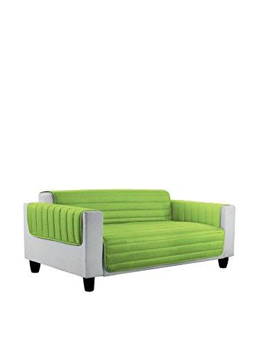 Elegant copri divano trapuntato in microfibra anallergica doubleface verde mela/blu scuro 2 posti