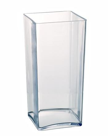 Clear Acrylic Cube Vase Hard Wearing Lightweight Durable Plastic 25cm High (Floral Supplies-container)