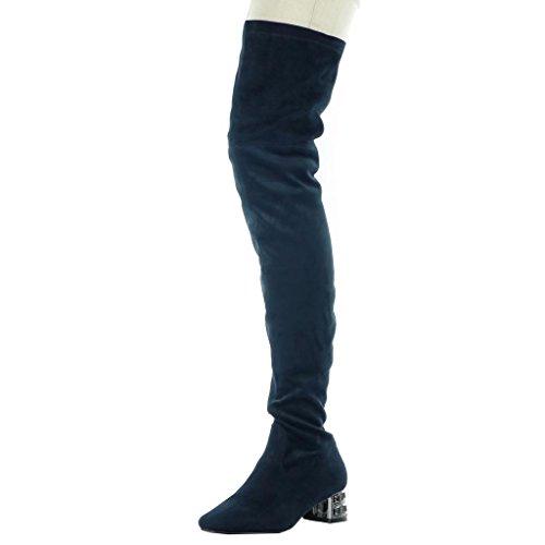 Angkorly - Chaussures Mode Bottes Hautes Bottes Femmes Flexibles Bijoux Talon Haut Talon Bloc 4,5 Cm Bleu