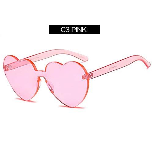 YHEGV Marke Liebe Herz Frauen Sonnenbrille Lolita randlose klare Sonnenbrille transparente Tönung Vintage Eyewears Herzen geformt