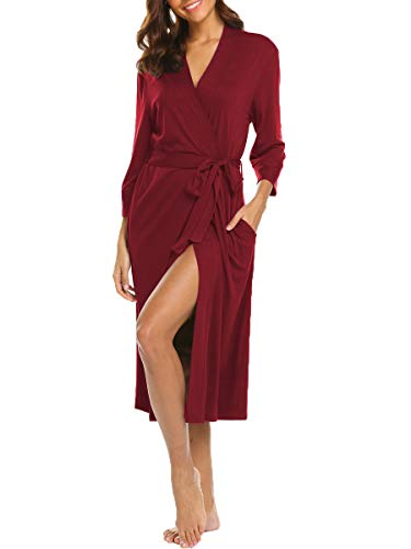 Damen Lange Morgenmantel Bademantel Nachtwäsche Kimono Saunamantel mit Tiefer V-Ausschnitt Schlafanzug aus Baumwolle Herbst (Burgund L)