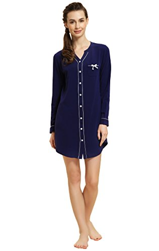 - 313daGKXeSL - Nightshirt Ladies Long Sleeve Sleepwear Women's Chemise nighties Summer Nightdress Top Buttom Down Sleep Shirt Dress Suntasty Comfortable nightwear