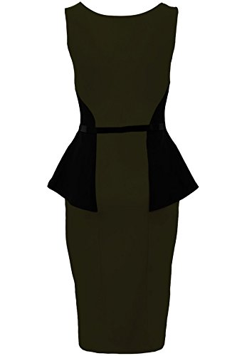 Sapphire - Damen Kleid mit Gürtel Ärmellos Schößchenkleid Spitze Kontrast Figurbetont Khaki / Schwarz